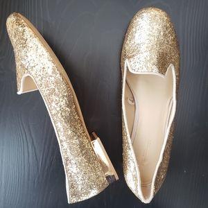 Zara Basic Gold Sparkle Flats size 37